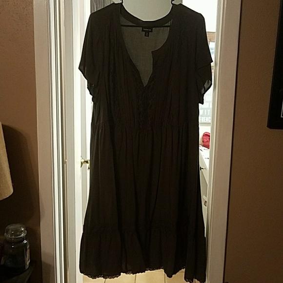 d54d83f5ac Torrid Olive Green Challis Lace Inset Dress. M 5a8389ae61ca10f2d1350505
